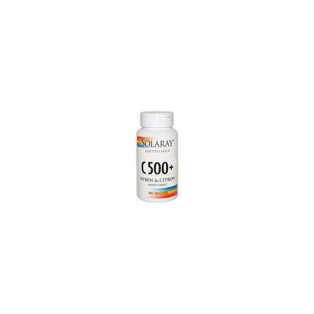 C 500 + hyben og citron, 100 tabletter (Solaray)